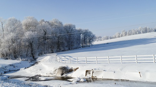 Word to the Wise--Snow covered creek and field